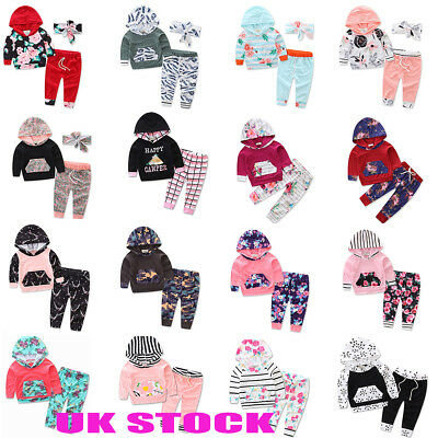 UK STOCK Kids Baby Boys Girls Outfits Clothes Hooded Tops + Long Pants Sets