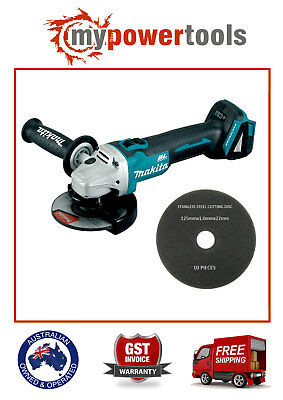 "Makita XAG03Z 18V Brushless 4 1/2"" LXT Angle Grinder + 10 FREE CUTTING DISCS"
