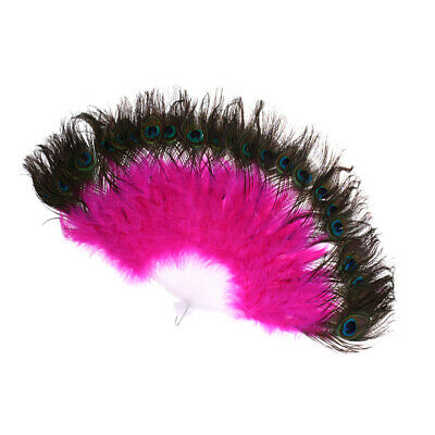 Fashion Peacock Feather Folding Hand Fan Belly Dancing Wedding Party Decor Fan
