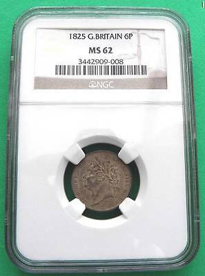 1825 - George 1V -  Silver Sixpence Slabbed MS62 - UNC - SN8401