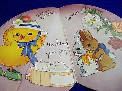 Vtg unused mid century Folds CHICK trying on NEW HAT bunny easter Greeting Card