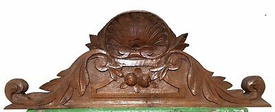 Hand Carved Wood Pediment Solid Antique French Architectural Crown Salvage Crest