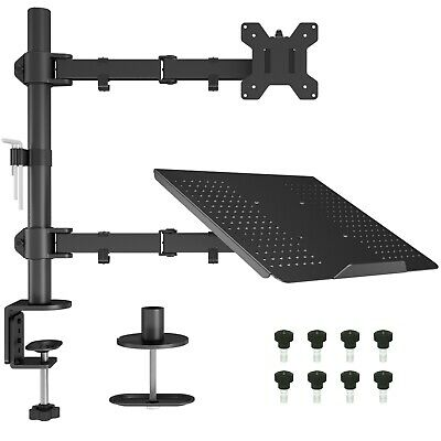 "Laptop Notebook Stand Monitor Arm Desk C-Clamp Mount Fully Adjustable 13""-27"""