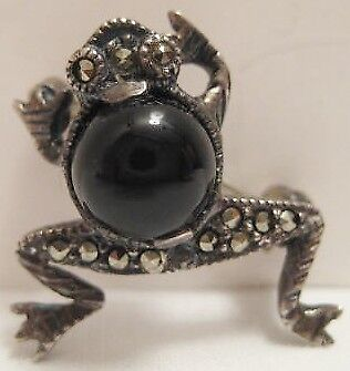 "Beautiful Old Sterling Silver Tree Frog Pin 3/4"" w Jet Black Caboshom Marcosites"