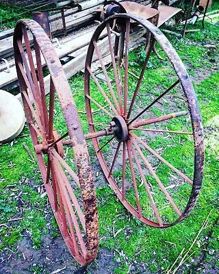 Pair of Large Iron Hayrake Wheels for Rustic Garden Art or Yard Display
