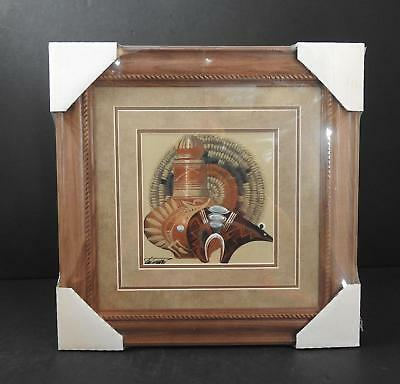 Native American Indian Authentic Sandpainting COA By Michael Watchman Navajo B12