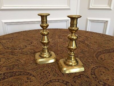 "Pair Antique Victorian Genuine 8"" English Brass Candlesticks With Pushers"