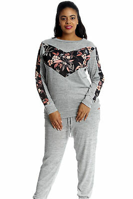 New Womens Plus Size Tracksuit Ladies Floral Patch Bottoms Top Cuffed Nouvelle