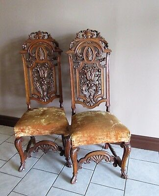 Pair Antique Throne Chairs Carved Solid Walnut
