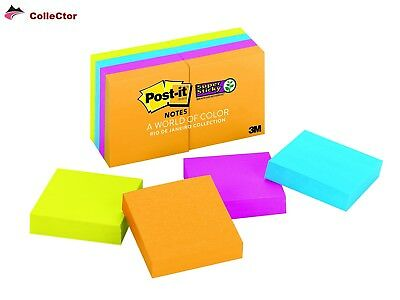 Post-it Super Sticky Notes, 2 in x 2 in, Rio de Janeiro Collection, 8 Pads (622-