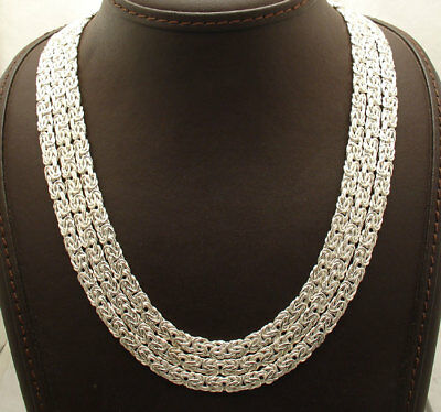 """18"""" Waterfall Three Row Byzantine Link Chain Necklace Real Sterling Silver 925"""