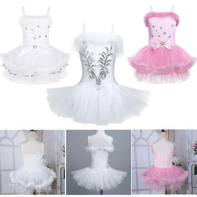 Girls Tutu Ballet Leotard Dance Dress Kid Ballerina Fairy Swan Costume Dancewear