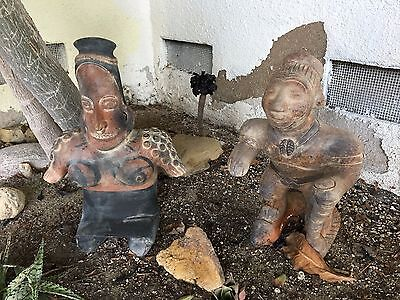 "Vintage Mexican Pottery 2 Pre Columbian ""Style"" Clay Figures"