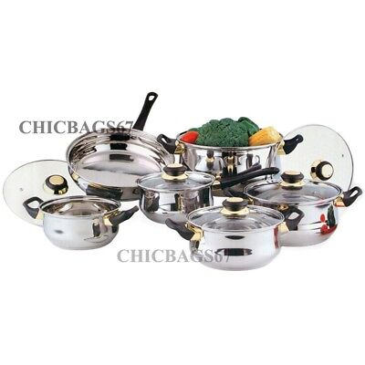 12 Piece Stainless Steel Saucepans Cookware Cooking Pots Pan Set With Lids