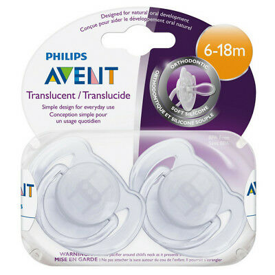Philips Avent Orthodontic Translucent Silicone Pacifier, 6-18 Months 2 ea