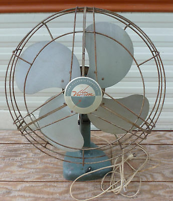"22"" Vintage Victor Victron F3167 Electric 16"" Oscillating 4 Metal Blade Fan 17"