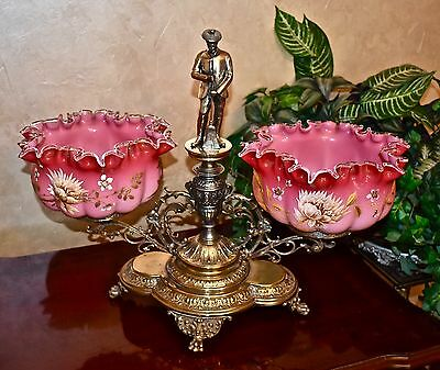 Rare WMF Double SP Brides Basket Gold Washed with Pair of Cranberry Brides Bowls