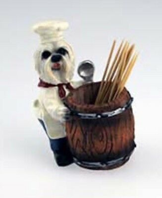 CHEF DOGS Maltese Chef Toothpick Holder Pet Gift Figurine