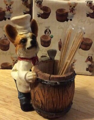 CHEF DOGS Welsh CORGI Chef Toothpick Holder Pet Gift Figurine