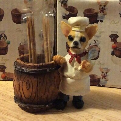 CHEF DOGS Fawn Brown Chihuahua Toothpick Holder DOG Pet Gift Figurine