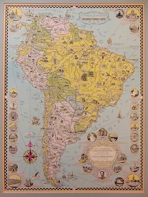 1942 Fun Pictorial Map of South America ERNEST DUDLEY CHASE Signed Mounted