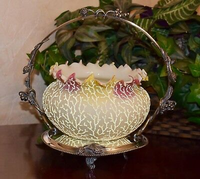 Brides Basket: Mt Washington Rare Rainbow Coralene Bowl and Meriden SP Basket
