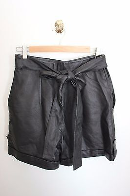 1980s Vintage Black Leather Shorts with ties best suit a size AU 8-10