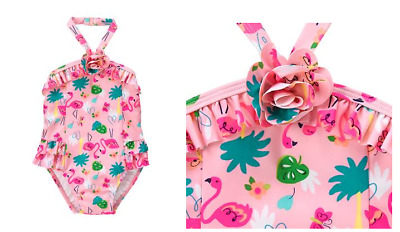 Gymboree Baby Girls Pink Flamingo One Piece Swimsuit UPF 50+ NEW Tags 12-18month