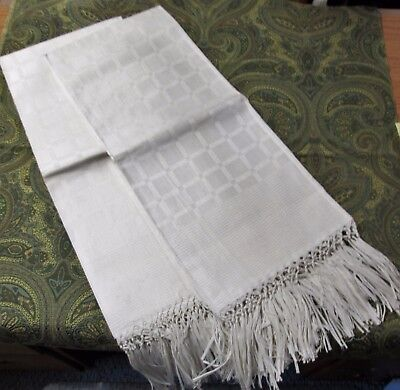 Fabulous Pair Linen Damask Bath Towels Hand Tied Fringe Never Used Lot #2