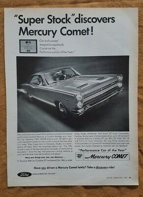1966 Mercury Comet Performance Car Of The year Automobile Car Vintage Print Ad