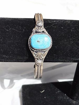 Native American Navajo sterling silver turquoise cuff bracelet NEW signed 15.3 g