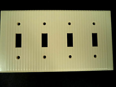 Leviton mcm vintage ribbed lines ivory four toggle switch plate cover bakelite