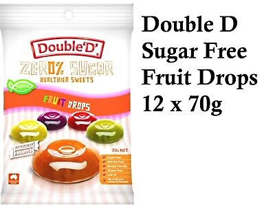 12 x 70g DOUBLE D HEALTHIER SWEETS Sugar Free Fruit Drops ( total 840g )