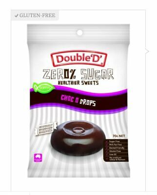 12 x 70g DOUBLE D HEALTHIER SWEETS Sugar Free Choco O Drops ( total 840g )