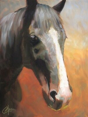 """Gentle by Christopher Clark Original Oil on Canvas Horse Painting 24"""" x 18"""""""