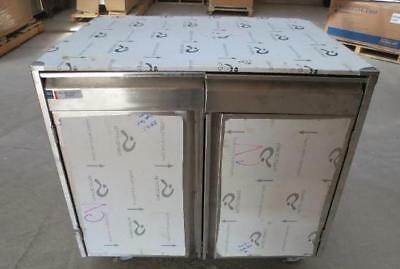 "36"" x 28"" Qualserv Stainless Steel 2 Door 2 Drawer Mobile Cabinet storage table"