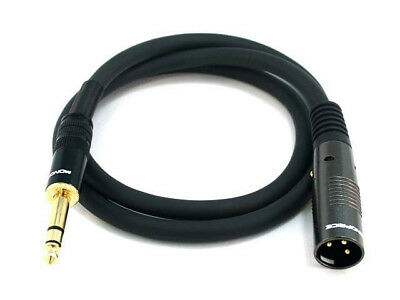 3ft Premier Series XLR Male to 1/4inch TRS Male 16AWG Cable Cord Gold Plated