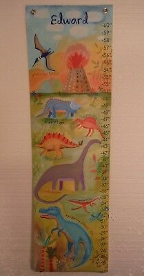 """Oopsy Daisy Dinosaurs Canvas Growth Chart """"Edward""""  42"""" x 12"""" NEW Made in USA"""