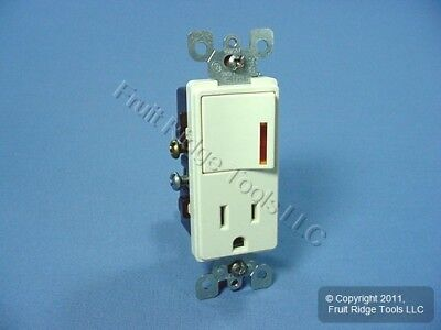 Leviton Almond Decora LIGHTED Rocker Wall Switch & Receptacle Outlet 15A 5647-A
