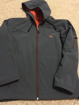 New Balance Mens Fleece Lined Hooded Zip Front Coat Style 22 Size M