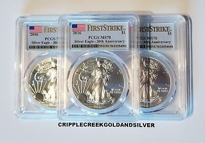 2016 American Silver Eagle PCGS MS70 First Strike 30th Anniversary **Lot of 3**