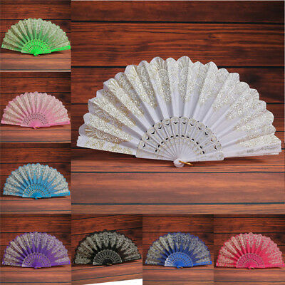 Lady Spanish Style Flower Silk Lace Folding Hand Held Fan Wedding Dance Party LI