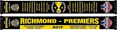 650425 Richmond Tigers 2017 Afl Premiers Team Logo Reversible Scarf