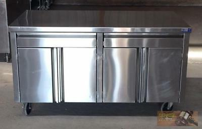 "60"" x 30"" Stainless Steel 4 Door 2 Drawer Mobile Cabinet storage counter top"