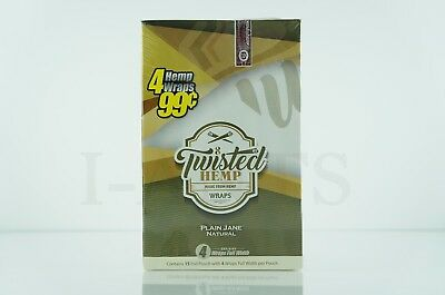 Full Box Twisted Hemp 15 Foil Pouch 4 Wraps Full Width per Plain Jane Natural