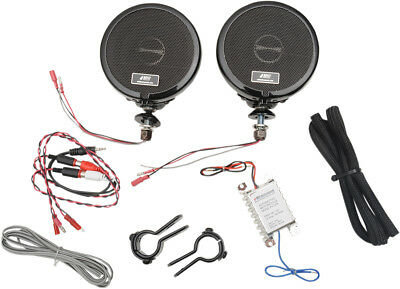 "MH Motorcycle Rumble Road Ultra Amplified Stereo Black System For 1"" Bars"