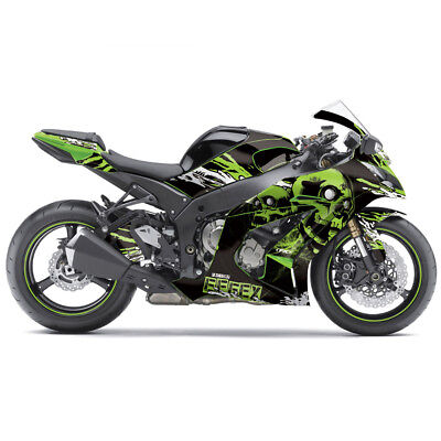 FX Skull Sport Bike Pre-Cut Graphics Wrap Kit For Kawasaki Ninja 250 08-12 Green