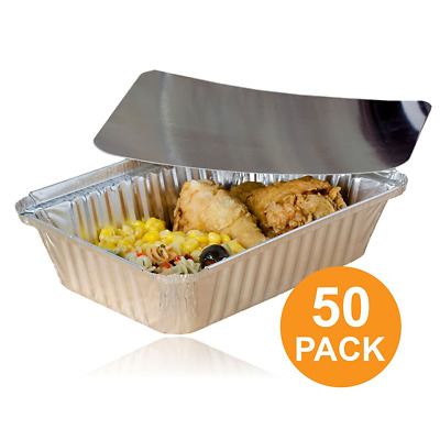 Rectangular Disposable Aluminum Foil Pan Take Out Food Containers with Flat Boar