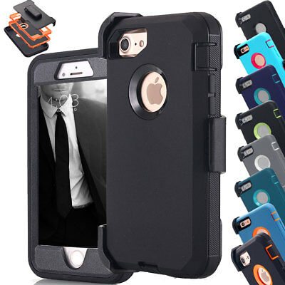iPhone X 6s 7 8 Plus Shockproof Hybrid Case W/ Kickstand Holster Belt Clip Cover