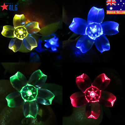 50 LEDs  Peach Blossom Solar String Fairy Powered Lamp Lights Garden Patio Yard